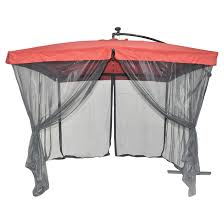 Patio Umbrella With Screen Enclosure Solar Light Cantilever Patio Umbrella With Netting Rona