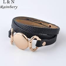 leather cuff wrap bracelet images Rainbery 2018 new style monogram leather bracelet hottest sale jpg