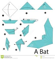 Step By Step Origami For - step by step how to make origami a bat stock vector