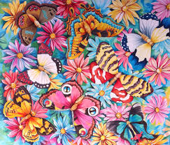 collage of butterflies in the garden of daises amrayi