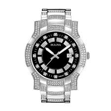 bulova watches ladies bracelet images Men 39 s bulova crystal accent watch with black dial model 96b176 jpg