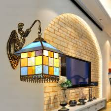 Mediterranean Wall Sconces Colorful Glass E27 Tiffany Wall Sconces