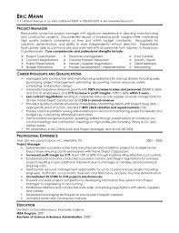 program manager resume manufacturing project manager resume exle