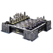 batman gotham cityscape chess set with led light up board by noble