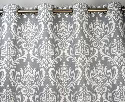 Grey And White Curtains Gray White Damask Ozborne Curtains Grommet 84 96 108 Or