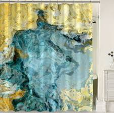Aqua Blue Shower Curtains Abstract Shower Curtain Aqua Blue Yellow