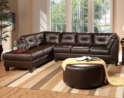 Small Brown Sectional Sofa Brown Leather Like Fabric Venus Chocolate Sectional Sofa