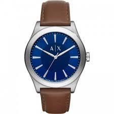 leather armani bracelet images Armani exchange leather men 39 s watch blue enamle brown bracelet jpg