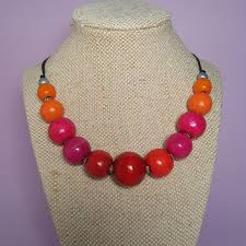 orange bead necklace images Red pink and orange wooden bead necklace seed jewellery jpg