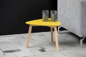 sara mustard yellow modern triangular coffee table 50cm miliboo