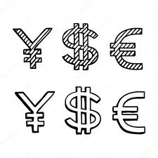 hand draw doodle sketch money icon dollar euro sign u2014 stock