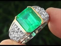 natural gem rings images Gia certified men 39 s natural emerald diamond platinum 18k gold jpg