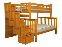 Twin Over Full Bunk Bed Twin Over Full Stairway Honey For Only - Walker edison twin over full bunk bed