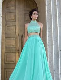 beautiful beaded two piece prom dress tulle light green turquoise