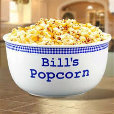 personalized bowl ceramic 2 quart bowl that is ideal for freshly popped popcorn or