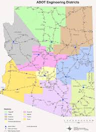 Map Of Arizona Cities Engineering Districts Arizona U2022 Mapsof Net