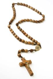 sacred of jesus wooden rosary on cord rosarycard
