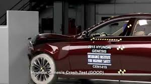hyundai genesis test front crash tests for selected 2015 top safety award winners