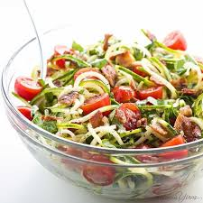 noodle salad recipes zucchini noodle salad recipe with bacon tomatoes low carb paleo