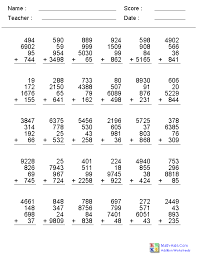 2 3 or 4 addends with 1 2 3 or 4 digits worksheets