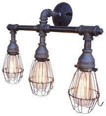 axel 3 light vanity fixture with wire cages industrial bathroom