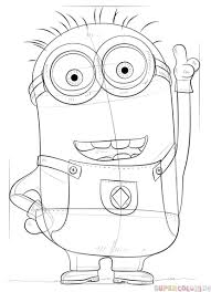 draw minion dave step step drawing tutorials