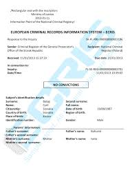 Slovak Birth Records Slovak Criminal Record Check From Criminal Register Of The General