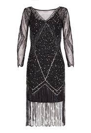 gatsbylady betty long sleeve fringe flapper dress in black