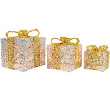 glittery light up gift boxes decoration silv polyvore