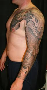 half sleeve blue asian dragon tattoo design in 2017 real photo
