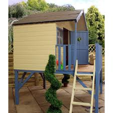 mercia honeysuckle wooden playhouse wendy house with tower and slide