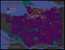 World Map At Night by Healthy City Maps Vancouver At Night