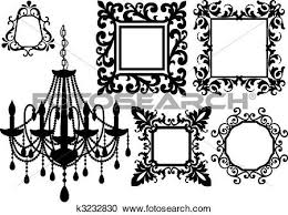 Black Chandelier Clip Art Clipart Of Picture Frames And Chandelier K3232830 Search Clip