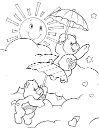 care bears umbrellas sun care bears coloring pages