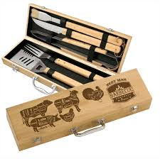 gift set engraved grill set bamboo 5 bbq gift set personalized
