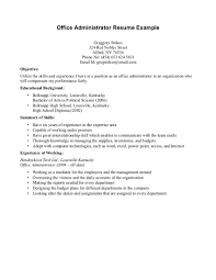 Office Administration Resume Samples by Administrator Example Resume
