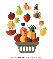 basket of fruit vector illustration of basket of fruit flat icon eps vectors