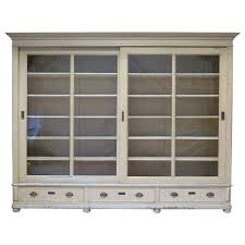 furniture white wooden book cabinet with sliding glass door and