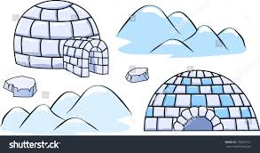 set winter igloo houses ice floes stock vector 736601161