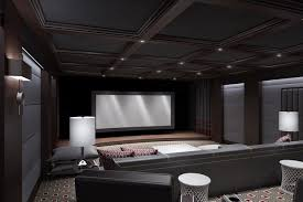 home theater with dark walls ceiling etc ideally 150 inch screen