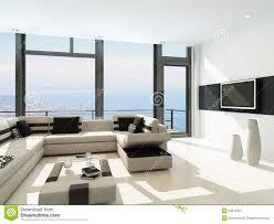 White Livingroom Modern White Living Room Interior With Splendid Seascape View