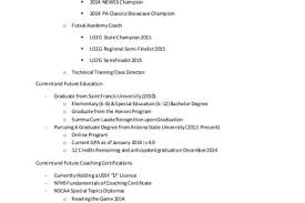 Soccer Coach Resume Samples by Resume For College Soccer Recruiting Reentrycorps