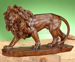 lion figurine prowling faux wood lion model figure figurine statue