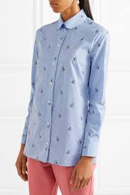 gucci bow embellished embroidered striped cotton shirt net a