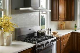 Stainless Steel Tiles For Kitchen Backsplash Modern Kitchen Design Ideas With Varnish Wooden Cabinet Featuring