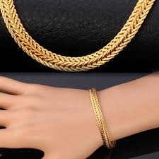 bracelet chain gold man images Wish classic foxtail chain necklace bracelet for men 18k gold jpg