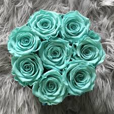 turquoise roses by jednay blue infinity roses white box