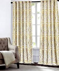 Yellow And Gray Window Curtains Tahari Home Camden Paisley Scrolls Window Panels 52 By