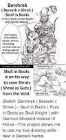 bershrek berserk x shrek skull in boots puss in boots as skull