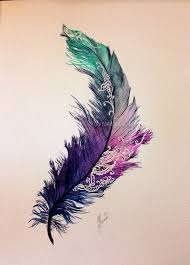 watercolor feather design different colours it a